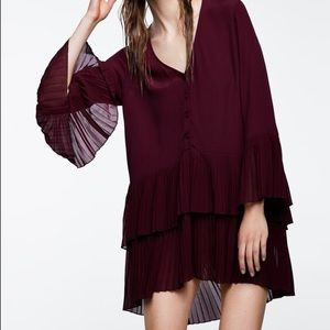 SALE Zara Pleated Tiered Button Down Tunic Med